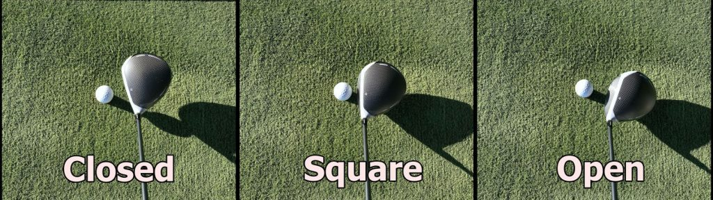 clubface closed, square and open
